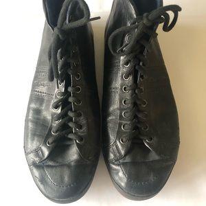 Santoni Leather Hi-Top Black Sneaker UK 7